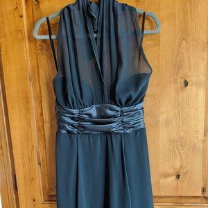 Connected Apparel grey illusion halter dress